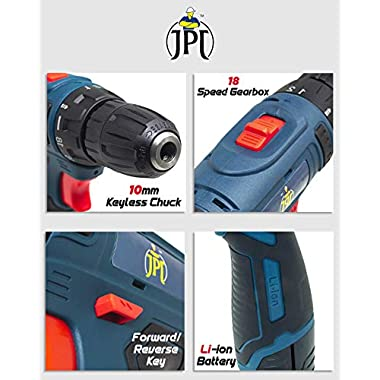 JPT HEAVY DUTY 12V CORDLESS DRILL/SCREW DRIVER WITH 2 BATTERIES 11