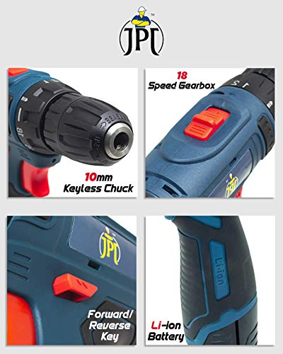 JPT HEAVY DUTY 12V CORDLESS DRILL/SCREW DRIVER WITH 2 BATTERIES 4
