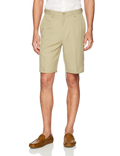 Haggar Men's Cool 18 Pro Straight Fit Stretch Solid Flat Front Short, Khaki, - Home Khaki Classic