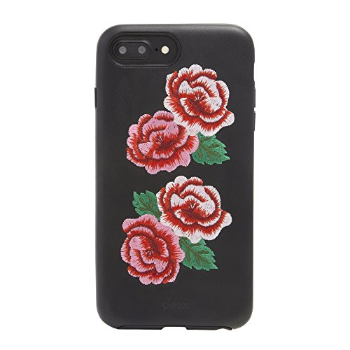 Embroidered Phone Case (iPhone 8 Plus, 7 Plus, 6 Plus Sonix Flora Embroidered Leather Phone Case [Military Drop Tested] Leather Case for Apple iPhone 6+, 6s+,7+, 8+)