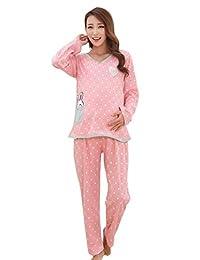 FEOYA Women's Pink Maternity Breastfeeding Nightwear Dress