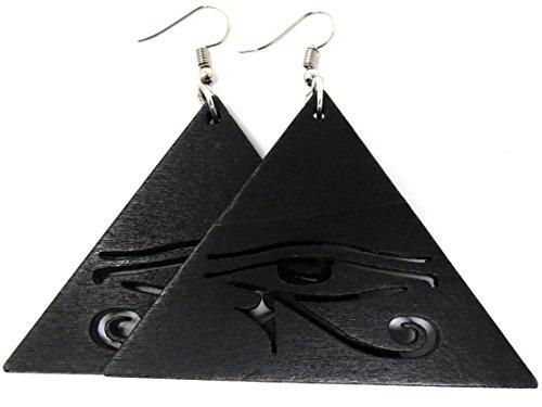 Eye of Horus Earrings Egyptian Eye Earrings Wooden Earrings Egypt Earrings (Black Triangle - Eye of Horus) - Black Pyramid Shape