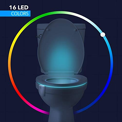 LumiLux Advanced 16-Color Motion Sensor LED Toilet Bowl Night, Internal Memory, Light Detection, Stocking Stuffer, White by LumiLux (Image #1)'