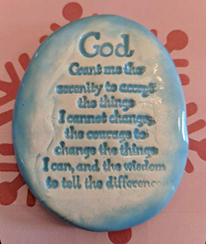 SERENITY PRAYER Pocket Stone - Sky Blue Art Glaze - Inspirational Art Piece by Inner Art Peace