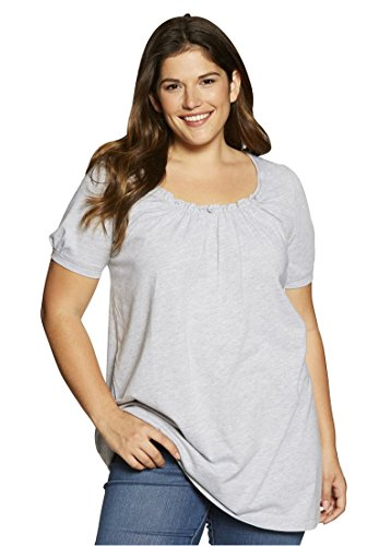 Women's Plus Size Shirred A-Line Tunic Heather Grey,1X