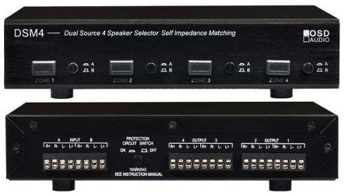 DSM4 Dual Source 4-Zone Independent A/B Switch Per Zone High Performance Speaker Selector with Impedance Protection - Black Brushed Aluminum Finish - OSD (Source Selector)