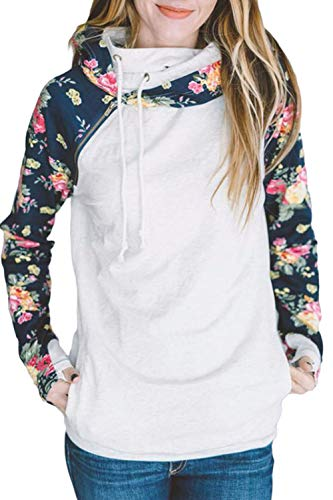 HOTAPEI Women Hoodies Pullover Floral Printed Long Sleeve Side Zip Drawstring Tunic Sweatshirt with Kangaroo Pocket Plus Size Cute White X-Large