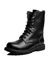 US Size 5-11 New Black Casual Military Leather Lace Up Mens High Top Combat Army Boots Shoes