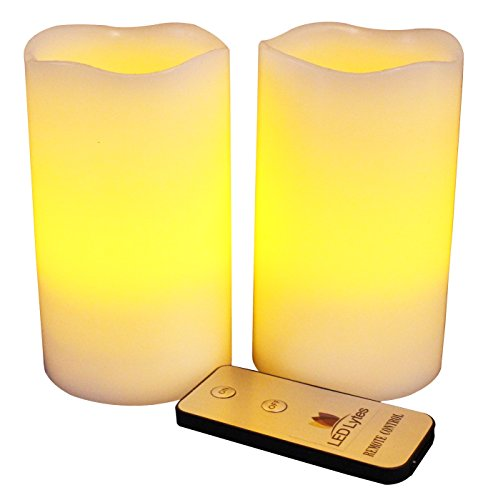 LED-Lytes-Real-Wax-Battery-Operated-Flameless-Pillar-Candles-with-Remote-Set-of-2