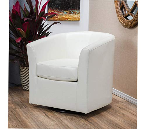 Premium Daymian Faux Leather Swivel Club Chair, Ivory