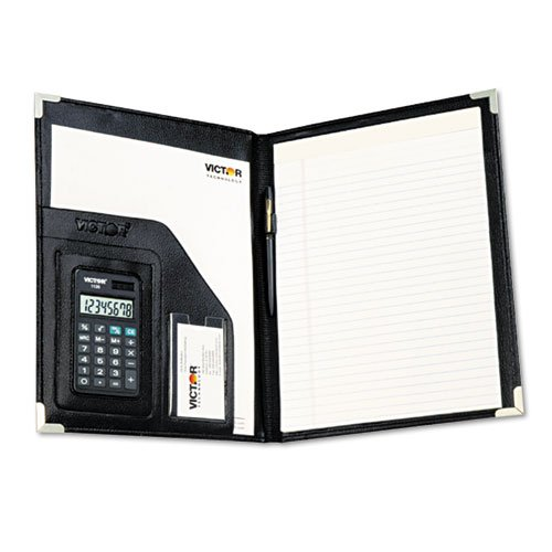 Full Width Pockets - Victor - Pad Holder w/Calculator, Vinyl/Pewter Corners, File Slots, Writing Pad, Black - Sold As 1 Each - Full-width pocket for documents plus business card/credit card pocket.