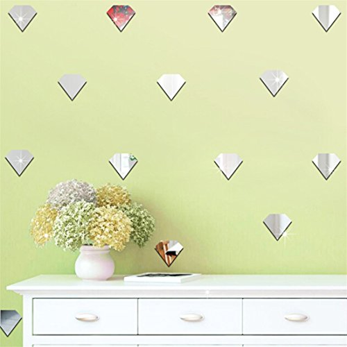 UINKE Geometric Diamond Shape 3D Mirror Wall Stickers Removable DIY Acrylic Wall Decor for Living Room Bathroom Dining Room,Silver by UINKE (Image #4)