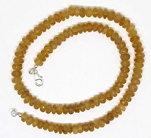 GemAbyss Beads Gemstone Yellow Aquamarine - Helidor Faceted Roundel Beads Necklace 7-8mm / 18.5 Inch Full Strand Super Quality Beads Necklace/Ready to Wear Code-MVG-25476