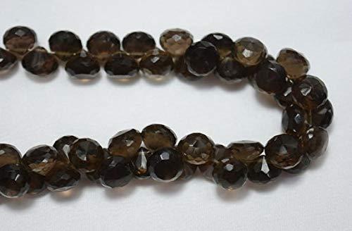 GemAbyss Beads Gemstone Smoky Quartz Faceted Onion Beads, Quartz Beads, 9mm Approx, Faceted Cut Onion, Gemstone Beads, 4 Inch Strand Code-MVG-30929