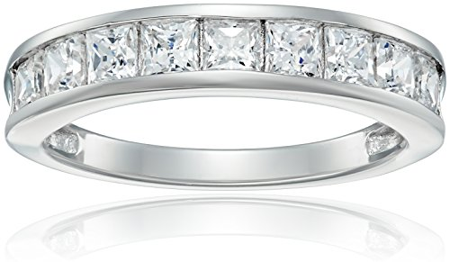 Sterling Silver Platinum-Plated Swarovski Zirconia Princess Channel Band Ring, Size ()
