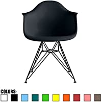 2xhome - Black - Modern Eames Style Armchair with Black Eiffel Wire Legs Dining Chair Molded Plastic Arm Chair Wire Base