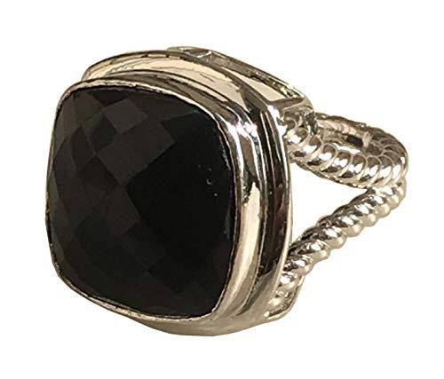 (Gempara Designer Inspired 14K White Gold Plated 17 x 17mm Cushion Black Onyx Albion Ring (7) 17)