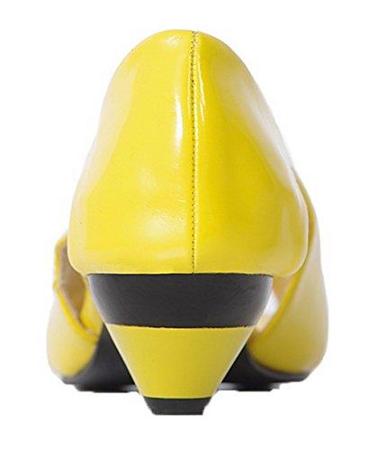 Tirare Sbirciare 35 Pelle Maiale Di Donna Basso Tacco Giallo Sandali Puro Voguezone009 q6RwBEP