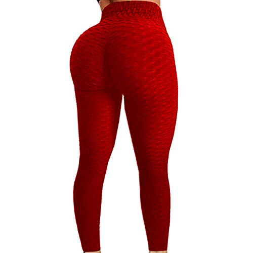 (Womens High Waist Textured Workout Leggings Booty Scrunch Yoga Pants Slimming Ruched Tights Red)