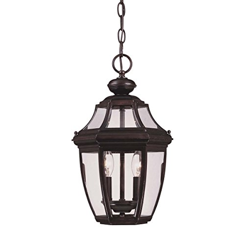 Savoy House Lighting 5-494-13 Endorado Collection 2-Light Outdoor Hanging Entry Lantern, English Bronze Finish with Clear Glass