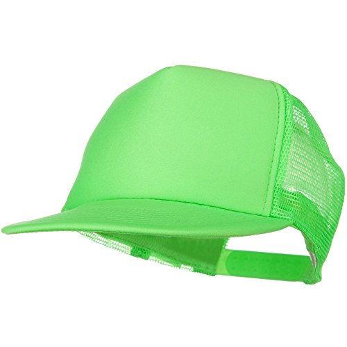 - 5 Panel Neon Color Poly Mesh Cap - Neon Green W36S65F (One Size)