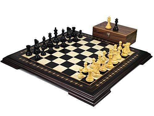 Helena Chess Set Ebonywood 23″ Weighted Ebonised Morphy Professional Staunton Chess Pieces 3.75″