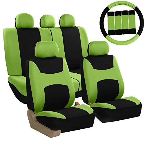 FH Group FB030GREEN-COMBO Seat Cover Combo Set with Steering Wheel Cover and Seat Belt Pad (Airbag Compatible and Split Bench Green) ()