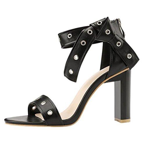 Partido Tacón Noche Abierto Lazo Black Alto del Zapatos Bloque Sandalias Pie De Las del Señoras Tobillo del De del De del 58qqPxwaO