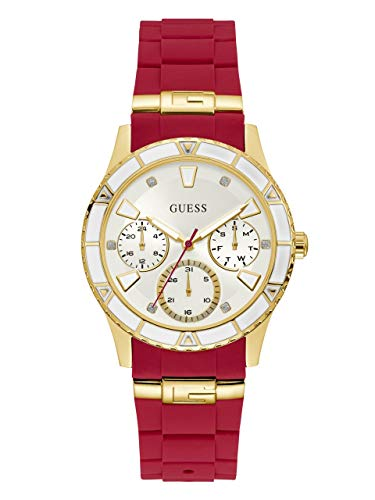 GUESS  Gold-Tone + Iconic Red Stain Resistant Silicone Watch with Day, Date + 24 Hour Military/Int'l Time. Color: Red (Model: ()