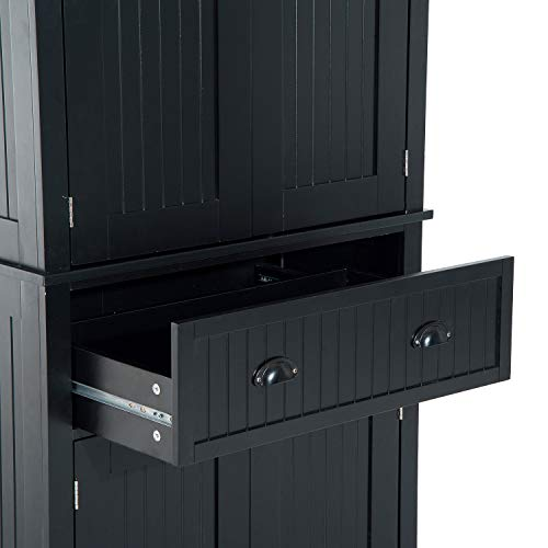 "Festnight Tall Kitchen Pantry Storage Cabinet, Traditional Standing Kitchen Pantry Cupboard Cabinet Black 72"" by Festnight (Image #7)"