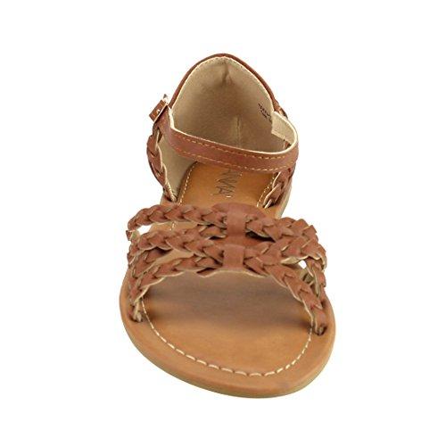 Strap Buckled ANNA Tan Sandal IF18 Weaved Womens ANNA Flat Womens IF18 Strap Weaved EawzBnqRn