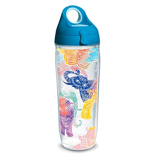Tervis 1232299 Mehndi Elephants Tumbler with Wrap and Turquoise Lid 24oz Water Bottle, Clear (Water Tervis Bottle)