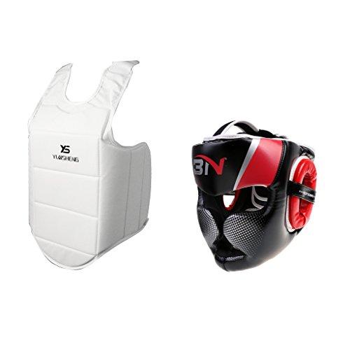 MonkeyJack MMA Boxing Headgear Head Guard Helmet and Chest Guards Set Pretection Gear by MonkeyJack