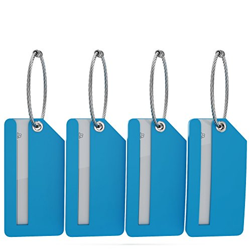 Small Luggage Tags With Privacy Cover   Metal Loop    4Pk  Aqua Teal