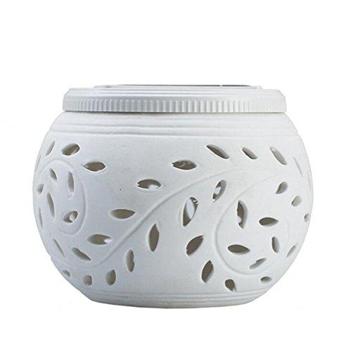 DSstyles - Lámpara solar de mesa de cerámica LED para jardín, recargable, funciona con energía solar (color blanco + luz...