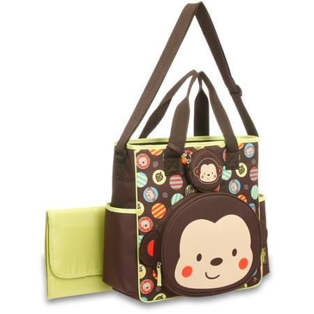 Baby Boom Monkey Face Tote Diaper Bag. Spacious main compart