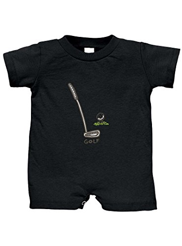 Baby Golf Golf Romper - Golf Set 100% Cotton Infant Baby Jersey Tee T-Romper Black 12 Months