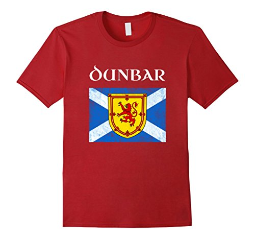 Mens Dunbar Scottish Clan Name T Shirt Coat Arms Lion Flag Large Cranberry