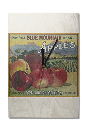 Lantern Press Blue Mountain Apple - Vintage Crate Label (10x15 Wood Wall Clock, Decor Ready to Hang)