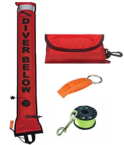 4ft Scuba Diving Open Bottom Surface Marker Buoy (SMB) Deployment Kit with 100ft Finger Spool ABS Dive Reel, High Visibility Surface / Signal Marker, Whistle and Instructional Setup and Guide (Orange) (Marker Surface Buoy)