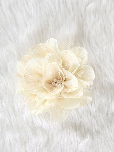Lolita lace Flower Hair Clip and Brooch pin with pearl (Beige) (Hawaiian Jumbo Lei)