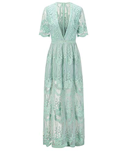 Bombaxceiba Womens Special Occasion Low Neckline Lace Maxi Dress Embroidered Lace Romper S Green