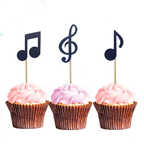 Morndew 24 PCS Music Note Cupcake Toppers for Music Party Rock Star Party Birthday Party Baby Shower Wedding Party Decorations -