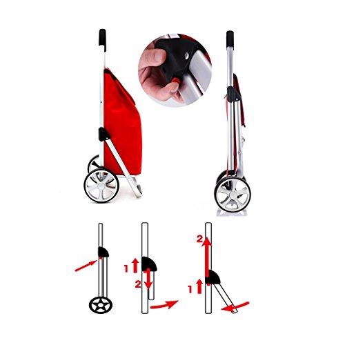 RHHWJJXB Aluminum Shopping Cart Shopping Cart Climbing Car Stroller Portable Small Cart Folding Trolley Car (Color : E) by RHHWJJXB (Image #2)
