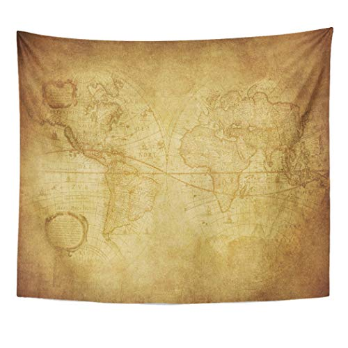 (Emvency Decor Wall Tapestry Old Vintage Map of The World 1630 History Worn Pattern Antique Parchment Wall Hanging Picnic for Bedroom Living Room Dorm 60x50 Inches)