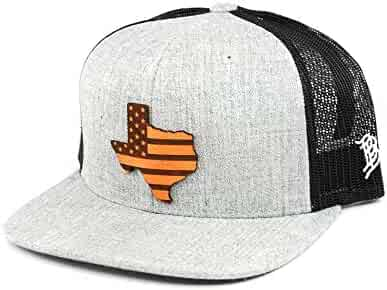 470dba77134 Branded Bills 'Midnight Texas Patriot' Black Leather Patch Hat Flat Trucker