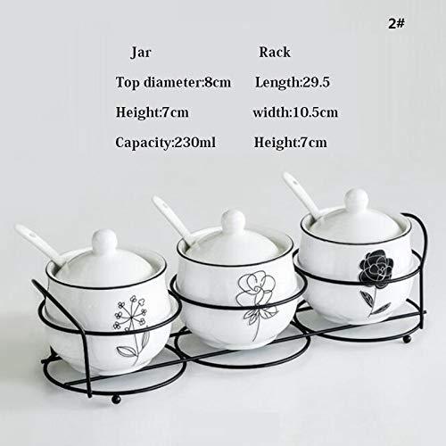 Herb & Spice Tools   3Pcs/Set Ceramic Salt And Pepper Jar Set Cruet Seasoning Rack Holder With Spoon Condiment Sugar Spice Storage Box Cooking Tools   By ATUTI by ATUTI