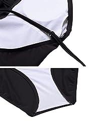 Ekouaer Women\'s ElegantOne Piece Swimsuits Splice Swimwear Black