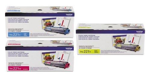 Genuine Brother TN221 (TN-221) Toner Cartridge Reseller 3-Pack , Cyan/Magenta/Yellow