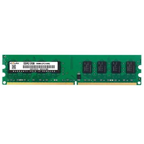 Module 1.8v Sdram Memory (iCoolax 2GB 2RX8 DDR2 800MHz UDIMM PC2-6400 CL6 1.8v 240 Pin Non-ECC Unbuffered Desktop Memory RAM Module Compatible with Intel AMD System (2GB 800MHZ))